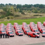 Publicity photography - Homeserve team with van fleet, Gaydon, Warwickshire