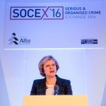 Theresa May speaker image at SOCEX conference, Warwickshire. Photographer Edward Shaw