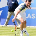 Tennis star Tim Henman in action at Edgbaston Priory