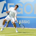 Tennis star Greg Rusedski in action at Edgbaston Priory