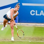 Barbora Zahlavova Strycova serving in the Aegon Classic final