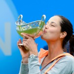Ana Ivanovic, kissing the Maud Watson Trophy