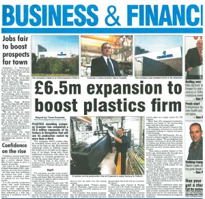 Craemer news story with factory exterior, production line and director portrait photos